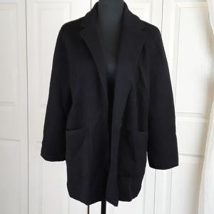 J.crew sz M black wool open front cardigan blazer